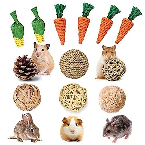 12 piezas de juguetes de conejo, juguetes para masticar conejitos, conejillos de Indias, hierba natural, ratán, zanahoria, palitos de maíz para conejos, hámster, jerbos, ardillas