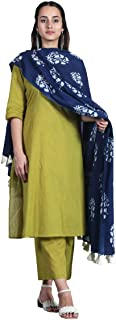 Rustorange Women's Viscose Straight Olive Salwar Kurta Set With Indigo Dupatta