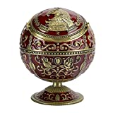 Cenicero vintage, cenicero innovador multifuncional vino águila roja globo de metal con tapa adornos decorativos artesanía regalos caja de almacenamiento