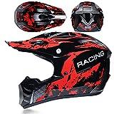 KAAM Casco de motocross para hombre con gafas, guantes y máscara, casco de moto para mujer y hombre, casco de carreras Enduro Downhill Dirt Bikes ATV MTB BMX Quad moto Offroad (rojo, M)