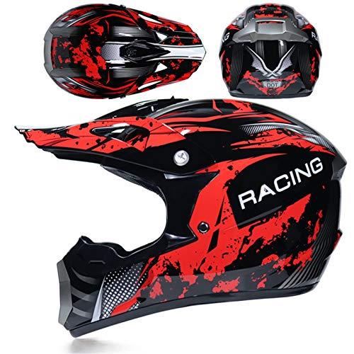 KAAM Men's Motocross Helmet Cross Helmet Set with Goggles / Gloves / Mask Motorcycle Helmet Women's Men Racing Enduro Downhill Helmet Dirt Bikes ATV MTB BMX Quad Motorcycles Offroad Helmet (Red, M)