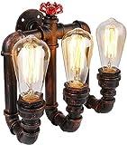 Vintage Metal Loft Pipa de agua Luz de pared Retro Creativo Industrial 3 luces Lámpara de pared Accesorio de iluminación para el hogar Cafe Bar Restaurante Aplique de pared E27 Base de la lámpara