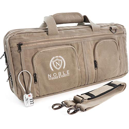 Waxed Canvas Chef Knife Bag Holds 19 Knives PLUS Knife Steel Meat Cleaver and Large Storage Compartments! Our Most Durable Professional Line Knife Carrier Includes Custom Padlock! (Bag Only) (Grey)