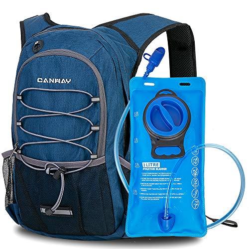 CANWAY Fahrradrucksack Trinkrucksack mit Trinkblase 2L BPA-freie Trinkrucksack zum Wandern, Laufen, Radfahren, Klettern, Outdoor, Regenschutz, 15-Liter(Blau)