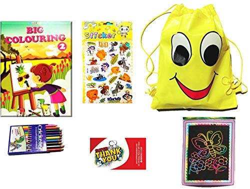 Party Hub Toddler Gift Combo with Smiley Haversack Bag as Birthday Return Gift to KDS 3-7 Years