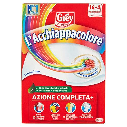 Grey L'Acchiappacolore - Hojas para captar color a máquina para evitar accidentes de lavado, hojas atrapapapecia color y antiesporco, paquete de 20 hojas