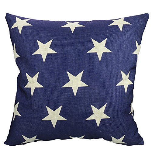 Luxbon Geometric Navy Cushion Covers 18x18 Beige Stars Sofa Throw Pillowcase 45x45cm Cotton Linen Cushion Case Covers for Kids Room Home Decors