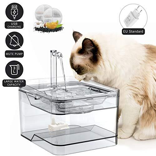 petnf Katzen Trinkbrunnen Katzenbrunnen 3L Automatisch transparent Hunde Wasserbrunnen Automatisch Leise Wasserspender mit 2 Aktivkohlefilter für Haustiere leise mit Aktivkohlefilter und Wasserhahn