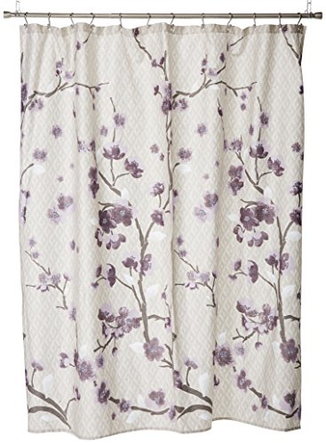 Madison Park 100% Cherry Blossom Printed Design Holly Modern Cotton Fabric Long, Floral Shower Curtains for Bathroom, 72 X 72, Yellow, 72x72, Purple