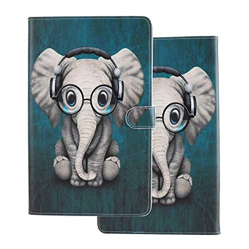 Tablet Case for Universal 10 Inch (9.5-10.5 inch) Flip Smart Cover Leather Wallet with Card Holder for Samsung Huawei Apple Tab 9.6 9.7 10.1 10.2 10.5 Elephant