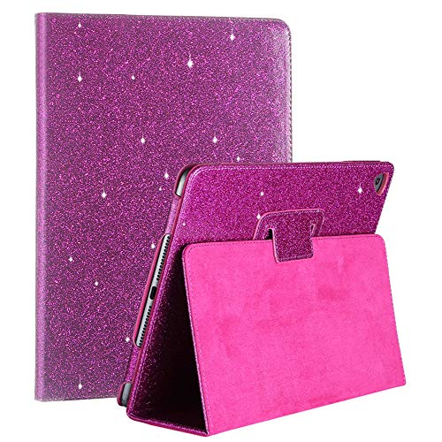 iPad Case 9.7-inch 2018/2017 Glitter, FANSONG Bling Sparkle PU Leather Smart Cover [Flip Stand Function] [Auto Sleep/Wake] Universal Case Cover for Apple iPad Air 2/ Air 1/ Pro9.7 /5th/6th, Purple