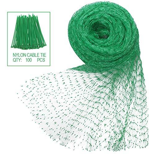 Filet de protection filet anti oiseaux polyéthyène avec 100 câble de nylon pour protection jardin et potager ,étang 4m x 10m