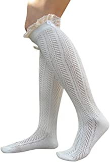 Lace Boot Socks Knee High Socks Ruffled Lace Trim & Buttons Leg Warmers for Boots