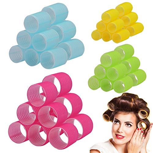 Hair Rollers Set Self Grip Hair Curlers Heatless Hair Roller Curler for Women Hair Bangs Salon Hair Dressing Tool 4 Size Jumbo Large Medium Small (48pcs Random Color Roller, 20Pcs Duckbill Hair Clips)