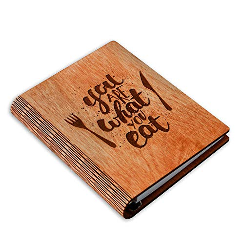 A5 Wooden Blank Recipe Book to Write in (7.5 x 6 inch) - Cook Book with 80 Sheets for Handwritten Recipes - Hardcover Family Kitchen Journal and Recipe Keeper (Mars)