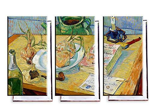 Unified Distribution Vincent Van Gogh - Stillleben mit einem Teller Zwiebeln - Klassisches Gemälde - Replik auf Leinwand Dreiteiler (120x80 cm)