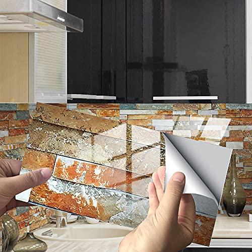 Azulejos Adhesivos Mármol Marrón Anaranjado Vinilos Cocina Azulejos PVCVinilos para Baños Impermeable Vinilos de Pared Decorativos Antisalpicaduras Vinilos Decorativos 24 piezas
