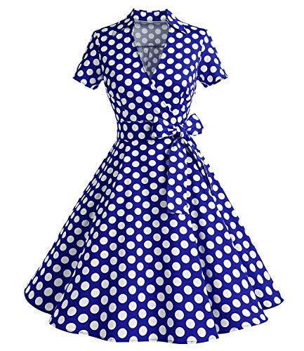 Timormode - Vestido de manga corta, diseño de los años 50 lunares azules XXL
