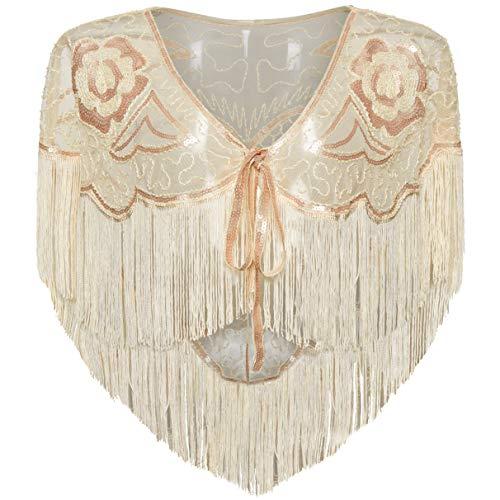 Coucoland Chal retro de los aos 20, para mujer, para boda, novia, bufanda, para vestido de noche, estilo aos 20, accesorio para disfraz de Gatsby albaricoque Talla nica