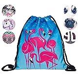 Creativee - Sac à dos imprimé avec cordon de serrage - Pour enfant (unisexe) - En nylon - Sac pliable pour l'école, la maison, le sport - Sac de rangement ou de voyage, Blue flamingo