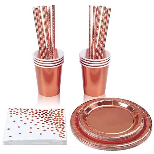 aovowog 40 Stück Rose Gold Partygeschirr Folie Pappbecher Pappteller Papierstroh Papiertuch für Hochzeiten, Jubiläum, Geburtstag für 8 Gäste