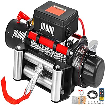 VEVOR Truck Winch 10000Ibs Electric Winch 80ft/24.4m Cable Steel 12V Power Winch Jeep Winch with Wireless Remote Control and Powerful Motor for UTV ATV & Jeep Truck Wrangler in Car Lift
