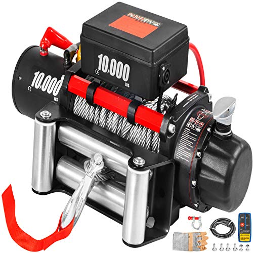 VEVOR Electric Winch 10000lb Load Capacity Truck Winch Compatible with Jeep Truck SUV 80ft/24.4m Cable Steel 12V Power Winch with Wireless Remote Control, Powerful Motor for ATV UTV Off Road Trailer