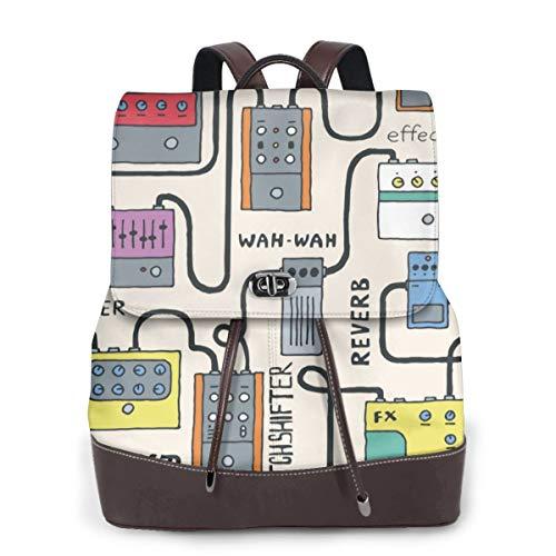 Niagara Damen-Rucksack, modisch, echtes Leder, für Mädchen, Reisen, Schule, Mini-Schultertasche, Orange - Farbige Gitarren-Pedale - Größe: Einheitsgröße