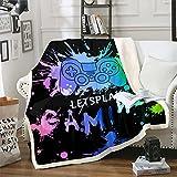 Loussiesd Gamer Sherpa - Manta de forro polar con mando de Gamepad, colorido videojuego de felpa para cama, sofá, dormitorio, decoración de cama, manta difusa doble 156 x 182 cm