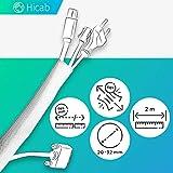 Tubo portacables de Hicab flexible, 2m, max. 32 mm, blanco: ¡el tubo portacables flexible que se adapta al grosor de sus haces de cables! Con cierre adhesivo