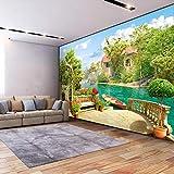 Msrahves Papel Pintado Fotográfico Estéreo jardín lago paisaje Xxl Papel Pintado Tejido No Tejido Decoración De Pared Decorativos Murales Moderna De Diseno Fotográfico Fotomurales 3D