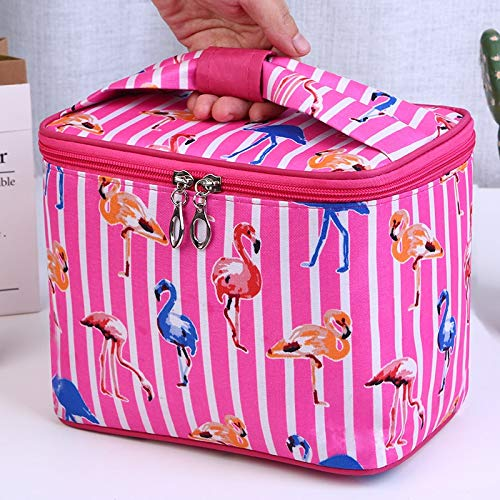 Makeup Bag Women Flamingo Stripes Cosmetic Bag Cases Large for Travel Toiletry Bags Toilet Organizer Beauty Makeup Box Suitcase (Color : Rose red)