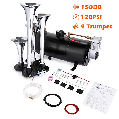 COOCHEER 150DB Train Air Horn Kit, 4 Trumpet Loud Train Horns Kit for Trucks, Cars, Van Boats, Most 12V Vehicles with Powerful 120 PSI Air Compressor