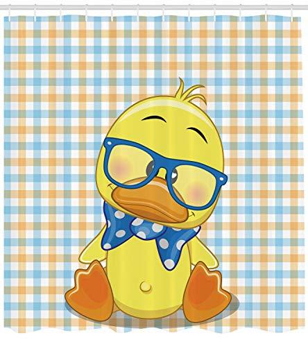 123456789 Cartoon douchegordijn Hipster Boho Cool Eend Print voor Badkamer