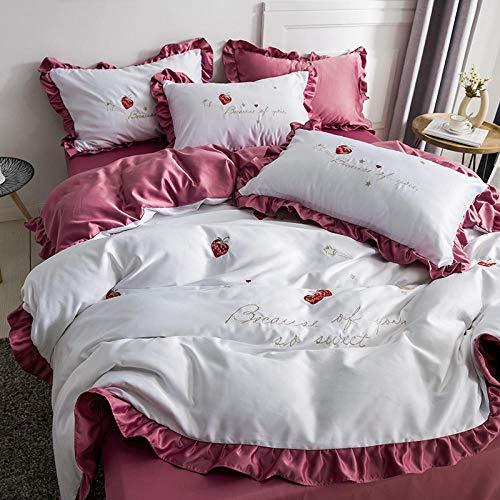 Fundas para edredón,Juego de cuatro piezas de seda con volantes de princesa Feng Shui sedoso desnudo para dormir ropa de cama de edredón de seda de hielo de doble cara-Pasta de frijol blanco_Funda nó