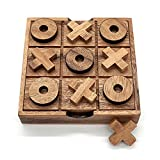 Tic Tac Toe Board Game Wooden for Kids Family TicTacToe Coffee Table Living Room Decor (Standard)