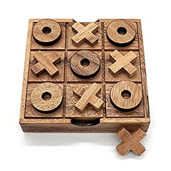 Tic Tac Toe Wooden Board Game Table Toy Player Room Decor Tables Family XOXO Decorative Pieces Adult Rustic Kids Play Travel Backyard Discovery Night Level Drinking Romantic Decorations  Standard