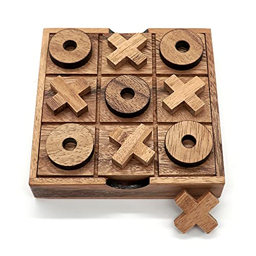 BSIRI Tic Tac Toe Wooden Board Game Table Toy Player Room Decor Tables Family XOXO Decorative Pieces Adult Rustic Kids Play Travel Backyard Discovery Night Level Drinking Romantic Decorations