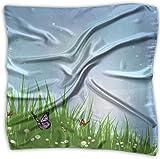 Sheep Nature Gr - Pañuelo cuadrado de seda mulipurposa, diseño de mariposas y flores blancas