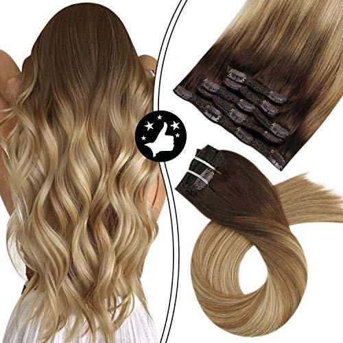 Moresoo 14 pouces Remy Clip in Hair Extensions #4 Marron Foncé to #6 Marron et #24 Blond Clair Extension a Clip Cheveux Naturel 5 Pieces 70 Gramme Clip in Human Hair Full Head