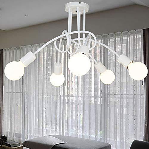 Moderna lámpara de techo Creative Luz de Colgante Ajustable DIY con 5 Brazos de Araña para Bombilla E27 para Comedor Hotel Etc (Blanco)