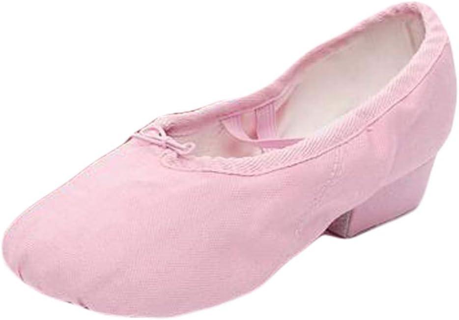 Panda Legends Women Ballroom Dance Shoes Low Heel Canvas Ballet Dancing Practice Waltz Latin Yoga Shoes, Pink