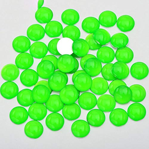 4mm 12mm néon blanc rond Flatback strass Cabochons Nail Crystal Stone Stickers Glitter Strass Diamond pour les décorations, vert fluo, 4mm 1000pcs