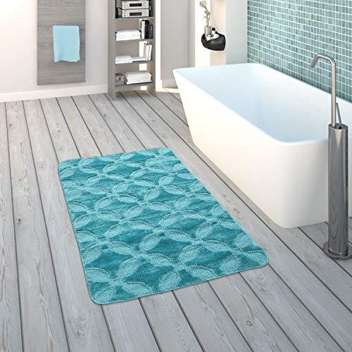 Paco Home Badematte, Kurzflor-Teppich Für Badezimmer Mit Kreis-Muster, Einfarbig In Türkis, Grösse:70x120 cm