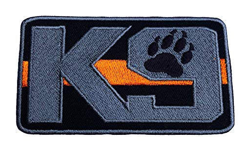 K-9 Thin Orange Line Search and Rescue Patch (3.5 Inch) Embroidered Hook + Loop K9 Badge Canine Service Dog Applique