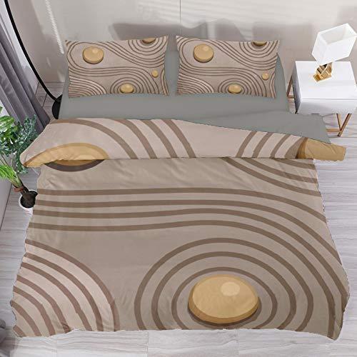 BOLIMAO 3 Pieces Zen Garden Sand Stone Brown Duvet Cover Set Super King 102'x87' Breathable Bedding Sets for Adult Women Men Teens (No Comforter)