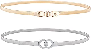 Talleffort 2 Pack Silver and Golden Women Elastic Skinny Waist Belt Metal Stretchy Chain Dress Belts for Women Girls