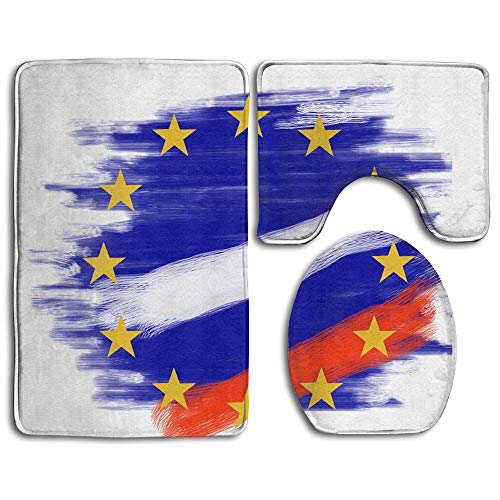 GGdjst 3 Piezas Juego de Alfombra de Baño, Europe Flag Russia Countries Home Set of 3 Soft Bath Rug Non-Slip Bathroom Shower Mat