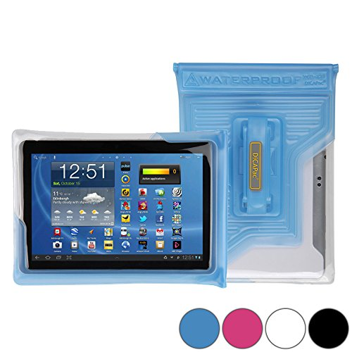 DiCAPac WP-T20 Universelle, wasserdichte Hülle für Fujitsu Stylistic M702 / Q555 Tablets in Blau (Doppel-Klettverschluss, IPX8-Zertifizierung zum Schutz vor Wasser bis 5m Tiefe; integriertes Luftkissen treibt auf dem Wasser und schützt das Gerät; extraklare Polycarbonat-Fotolinse; integrierte Handschlaufe)