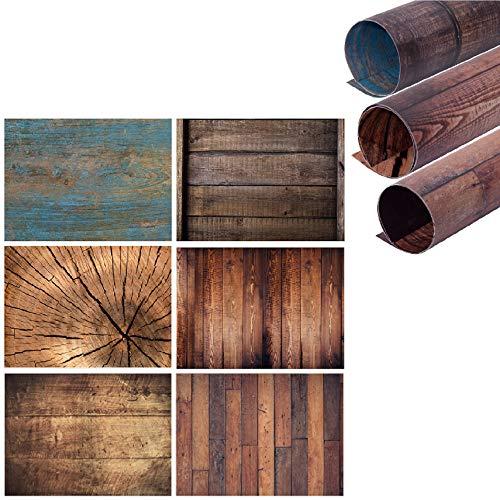 Selens 2 w 1 Flat Lay Tło 60 x 90 cm 3 sztuki ziarnistego tępego drewna / rysunek słojów drewna / niebieska deska drewniana fotografia dwustronne tła spożywcze kosmetyki blat stołu dla smakoszy fotografia produktu